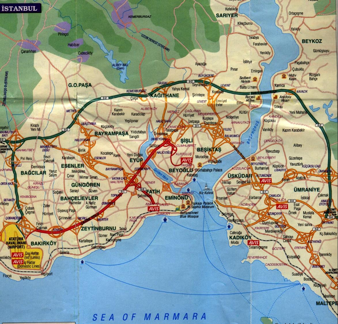 карта Стамбула Отели Стамбула.